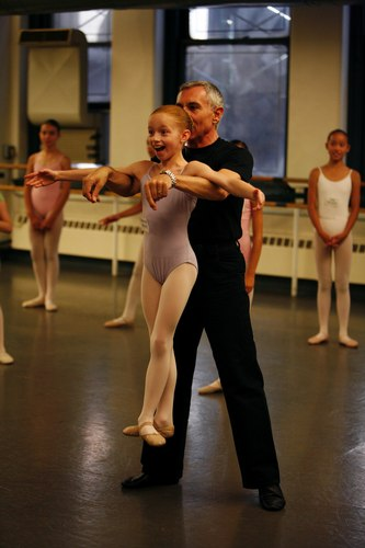 A young student with Franco Da Vita at the Jacqueline Kennedy Onassis School (American Ballet Theatre's new school)