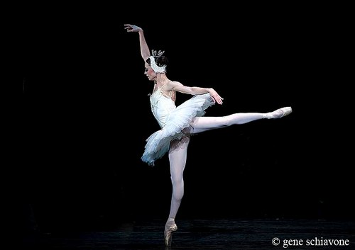 Dancer in 'Swan Lake' in 1st arabesque with arms as choreographed for the role.
