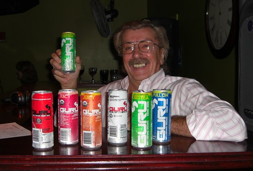 DJ Wes Carrajat and several cans of Guru, a new energy drink