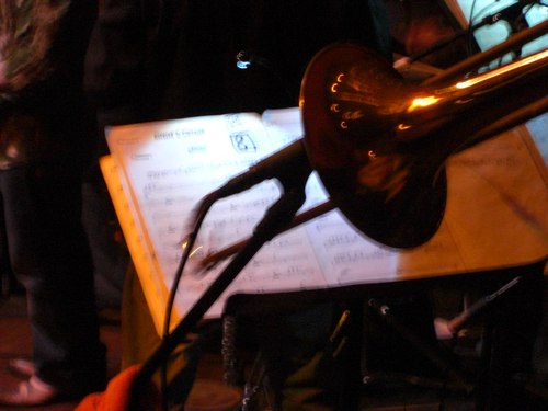 Salsa at the Monsoon Cafe Trombone and sheet music
