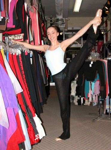 Emma is wearing a Camisole Leotard from the Body Wrappers Premiere Collection, style P800, $44.99; and Black Pants from Danskin, Style 2934, $30.00. Available at <a href='http://www.onstagedancewear.com'>OnStageDancewear.com</a>.