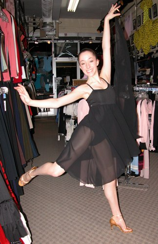 Emma is wearing a Black 8 way dance dress from Body Wrappers, Style 7895, $54.99; and Freed of London Sophia shoes, $119.99. Available at <a href='http://www.onstagedancewear.com'>OnStageDancewear.com</a>.