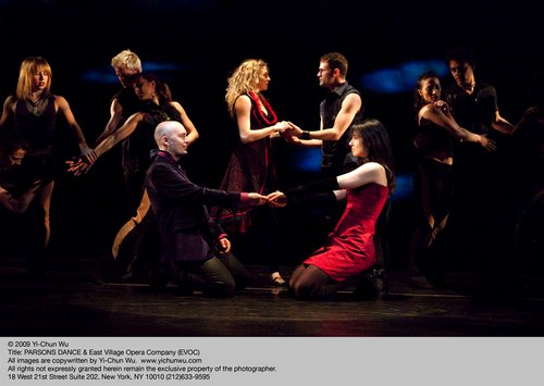 Parsons Dance / East Village Opera Company in 'Remember Me' Members of Parsons Dance Center back, holding hands – Abby Silva, Zac Hammer Center front, holding hands – Tyley Ross, AnnMarie Milazzo