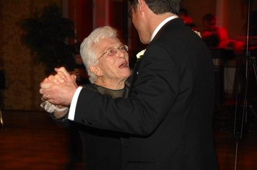 Robert dances with his grandmother, Gert