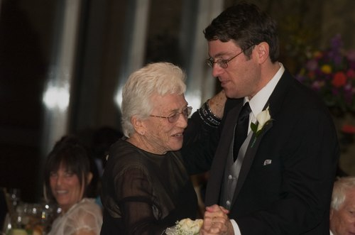 Robert dances with his grandmother, Gert
