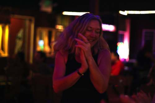 Sheryl Kay Daniels dancing at Players Pub