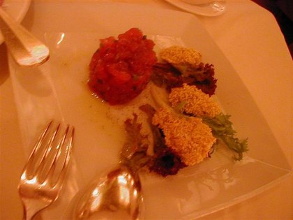 Cubed Tuna Tartar with Polenta-Dusted Fried Oysters