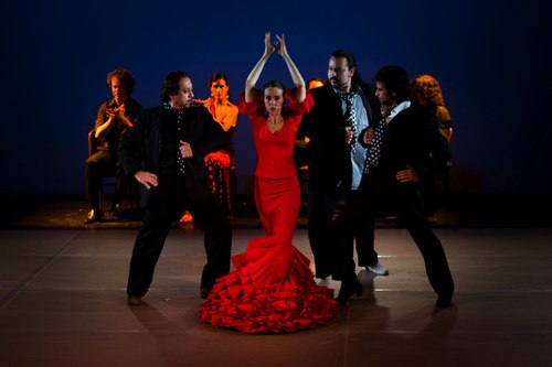 Cast of Pasion Flamenca Left, Director Jorge Navarro, center Rebeca Thomas (in red)