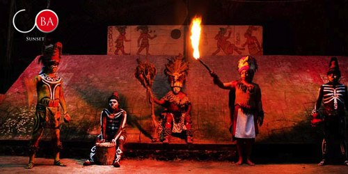 The Maya Fireball Game performers from Tihosuco Yucatan on stage at the outdoor theater