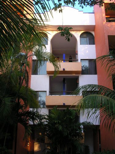 Tropical foliage enhances Playa's low-rise hotels